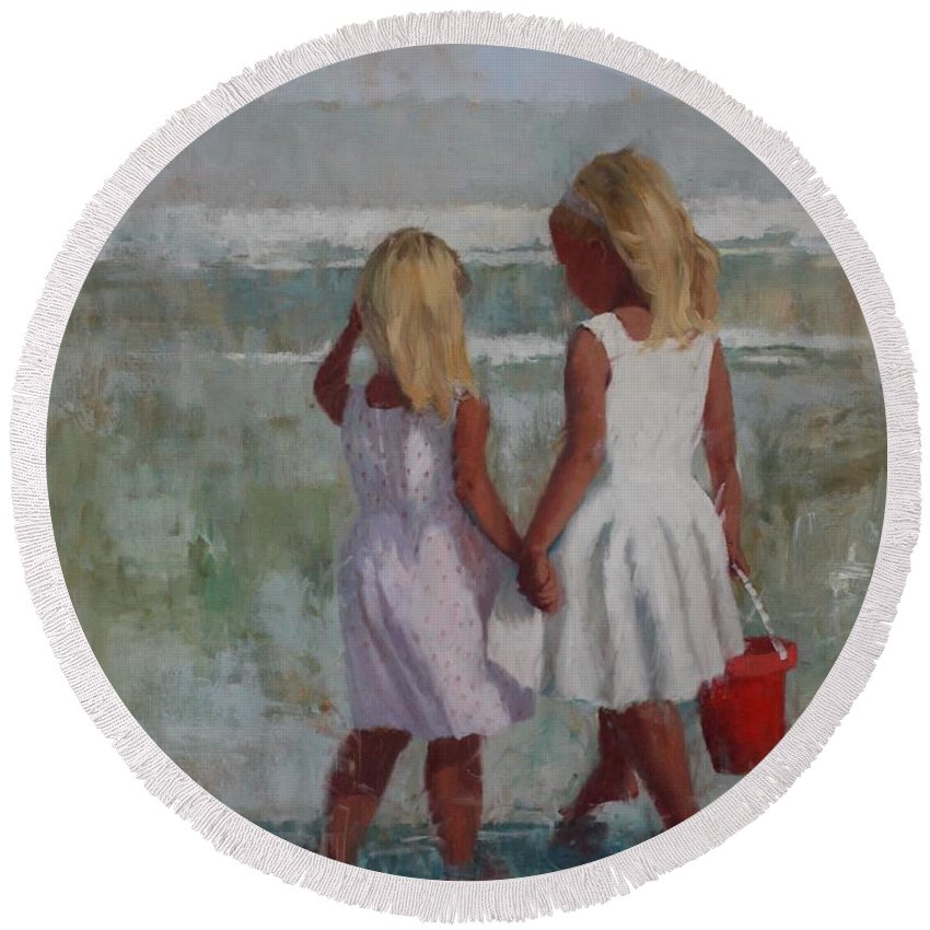Beach Round Beach Towel featuring the painting Two Sisters And Red Bucket by Hope Reis