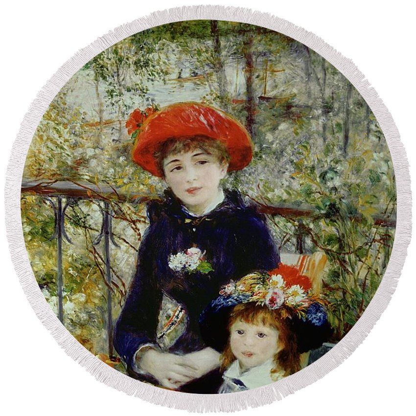 Two Round Beach Towel featuring the painting Two Sisters by Pierre Auguste Renoir