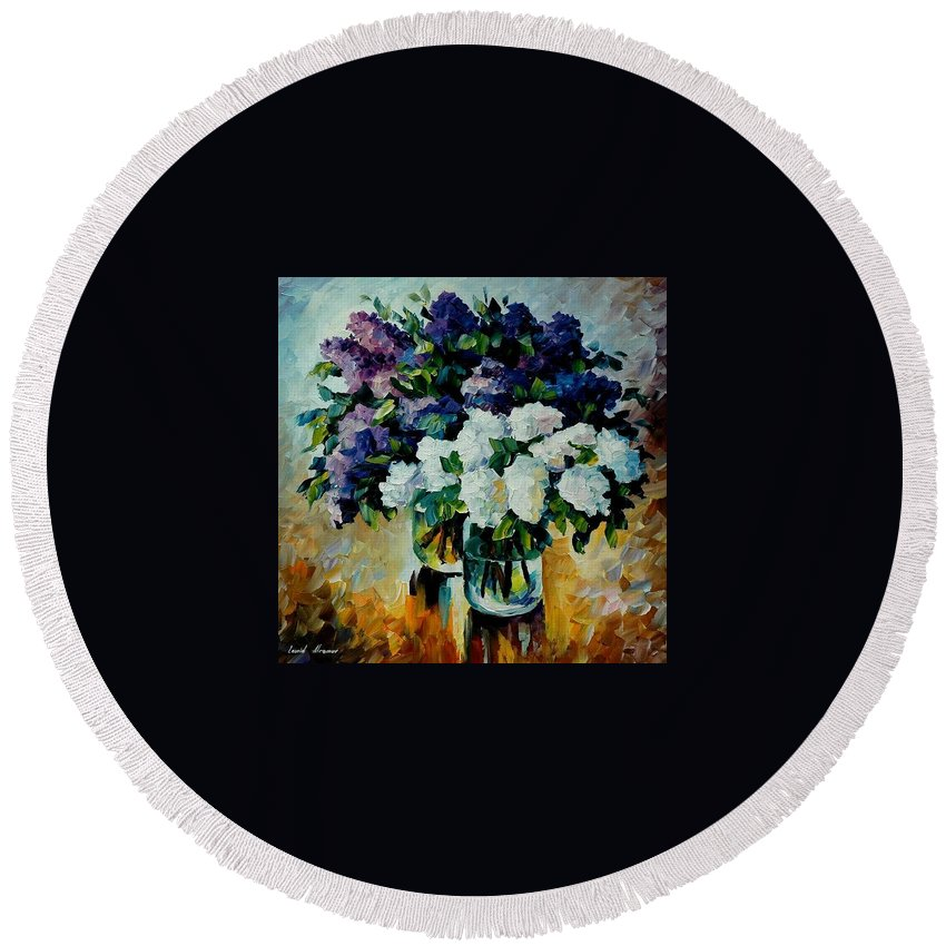 Painting Round Beach Towel featuring the painting Two Spring Colors by Leonid Afremov
