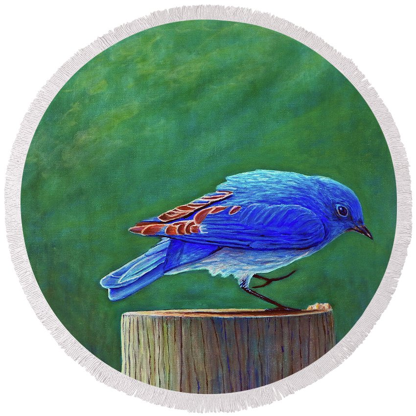 Bluebird Round Beach Towel featuring the painting Two Step by Brian Commerford