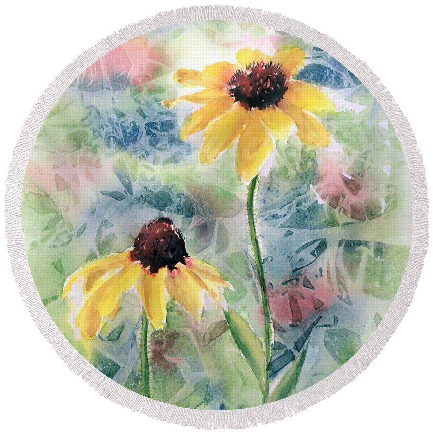 Watercolor Round Beach Towel featuring the painting Two Sunflowers by Debbie Lewis