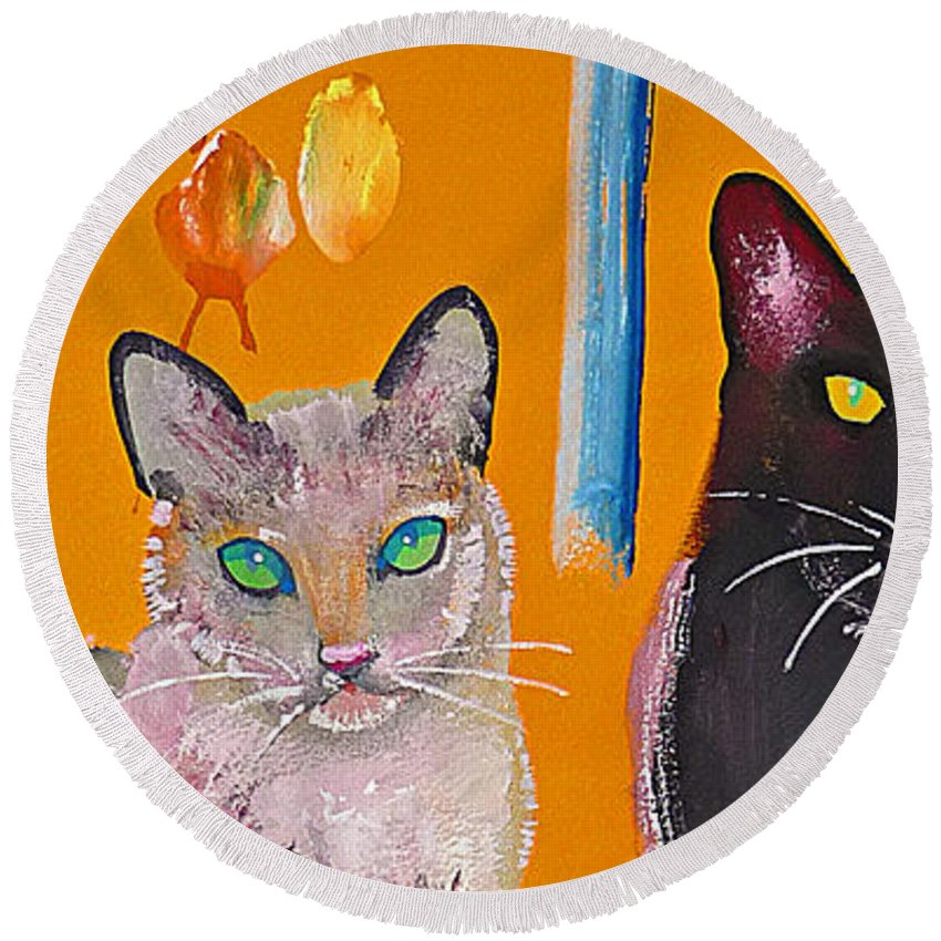 Cat Round Beach Towel featuring the painting Two Superior Cats With Wild Wallpaper by Charles Stuart