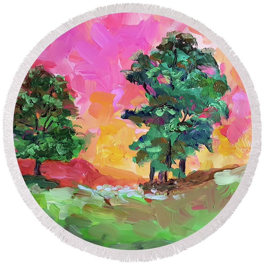 Landscape Round Beach Towel featuring the painting Two Trees by Janet Garcia