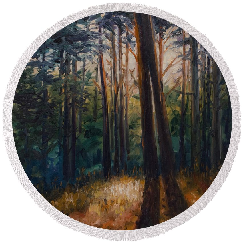 Trees Round Beach Towel featuring the painting Two Trees by Rick Nederlof