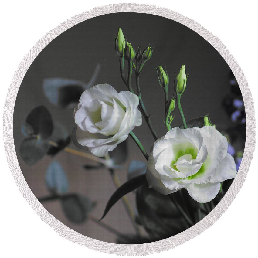 Flower Arrangement Round Beach Towel featuring the photograph Two White Roses by Jeremy Hayden