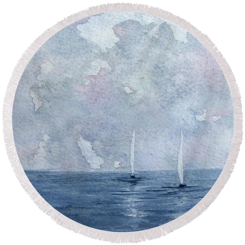 Boats Round Beach Towel featuring the painting Two White Sails by Trudy Kepke