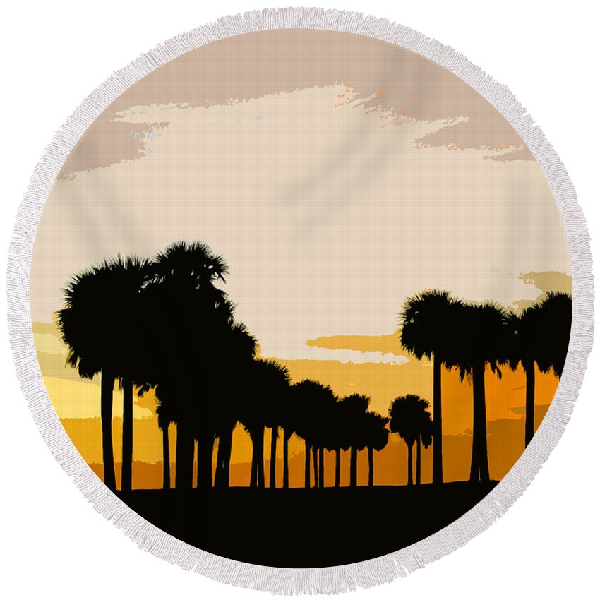 Palm Trees Round Beach Towel featuring the painting Two With The Palms by David Lee Thompson