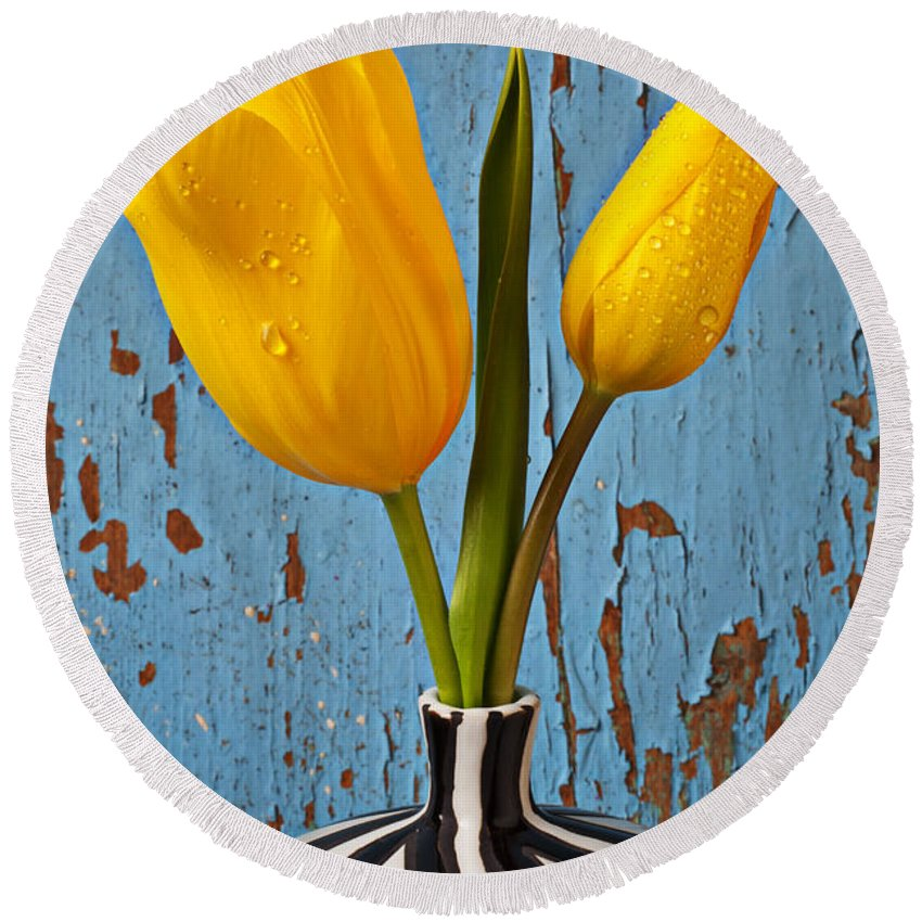 Two Yellow Round Beach Towel featuring the photograph Two Yellow Tulips by Garry Gay
