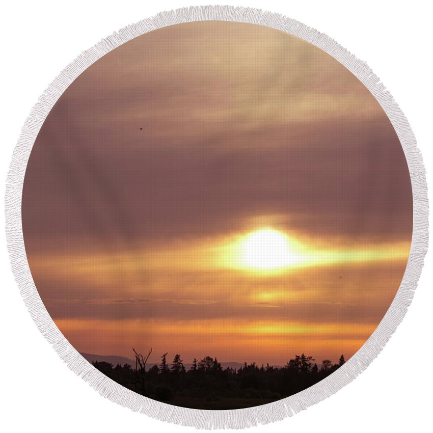 Sunset Round Beach Towel featuring the photograph Twr - Sunset 1 by John Wood