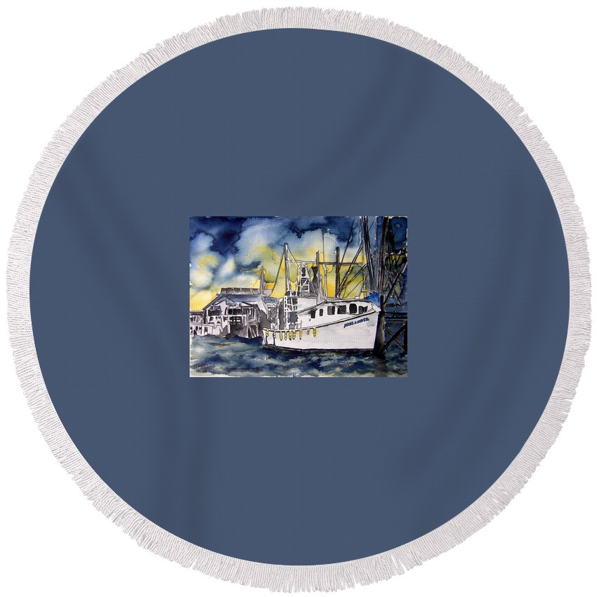 Georgia Round Beach Towel featuring the painting Tybee Island Georgia Boat by Derek Mccrea