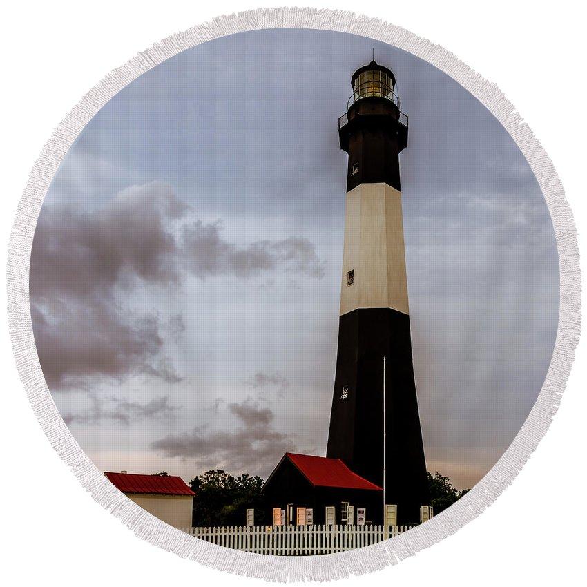 Tybee Island Lighthouse Round Beach Towel featuring the photograph Tybee Island Lighthouse - Square Format by Debra Martz