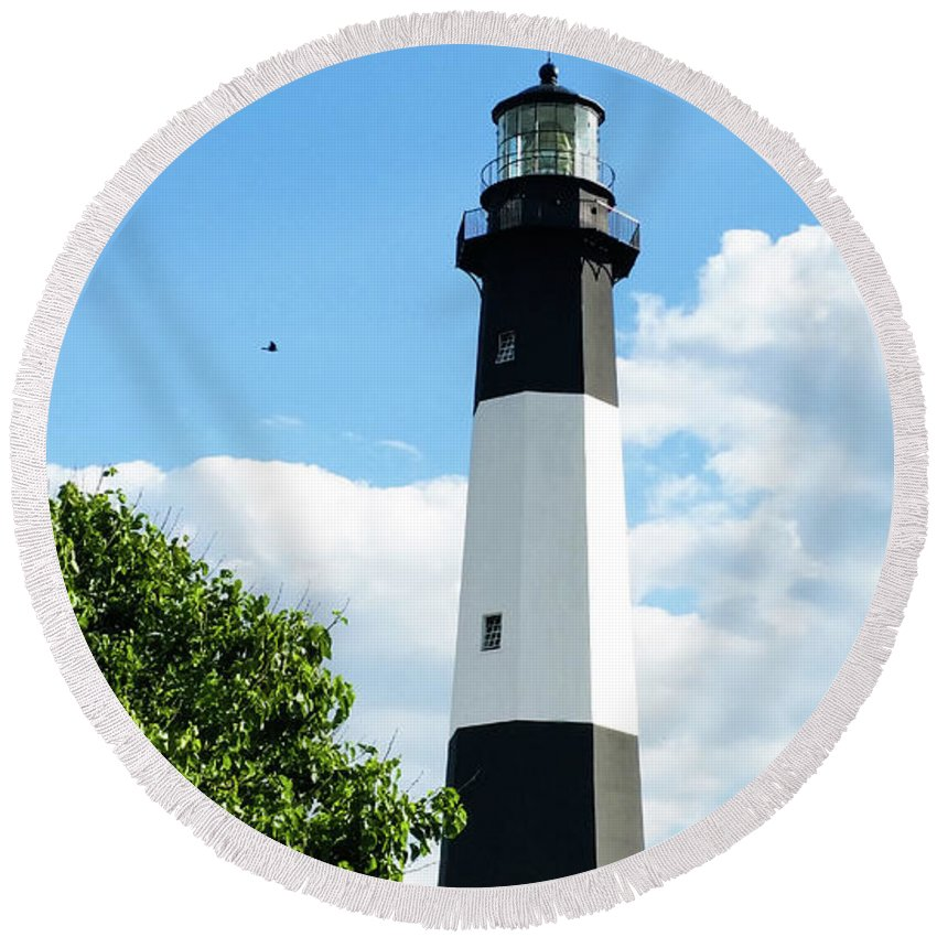 Round Beach Towel featuring the photograph Tybee Light by Belinda Jane