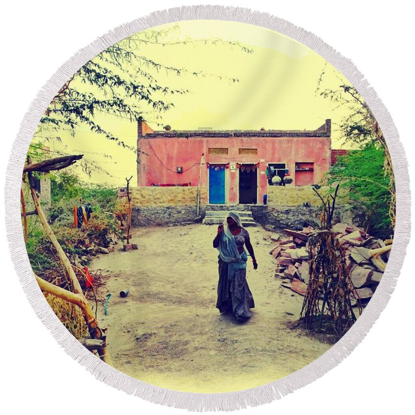 House Round Beach Towel featuring the photograph Typical House India Rajasthani Village 1j by Sue Jacobi