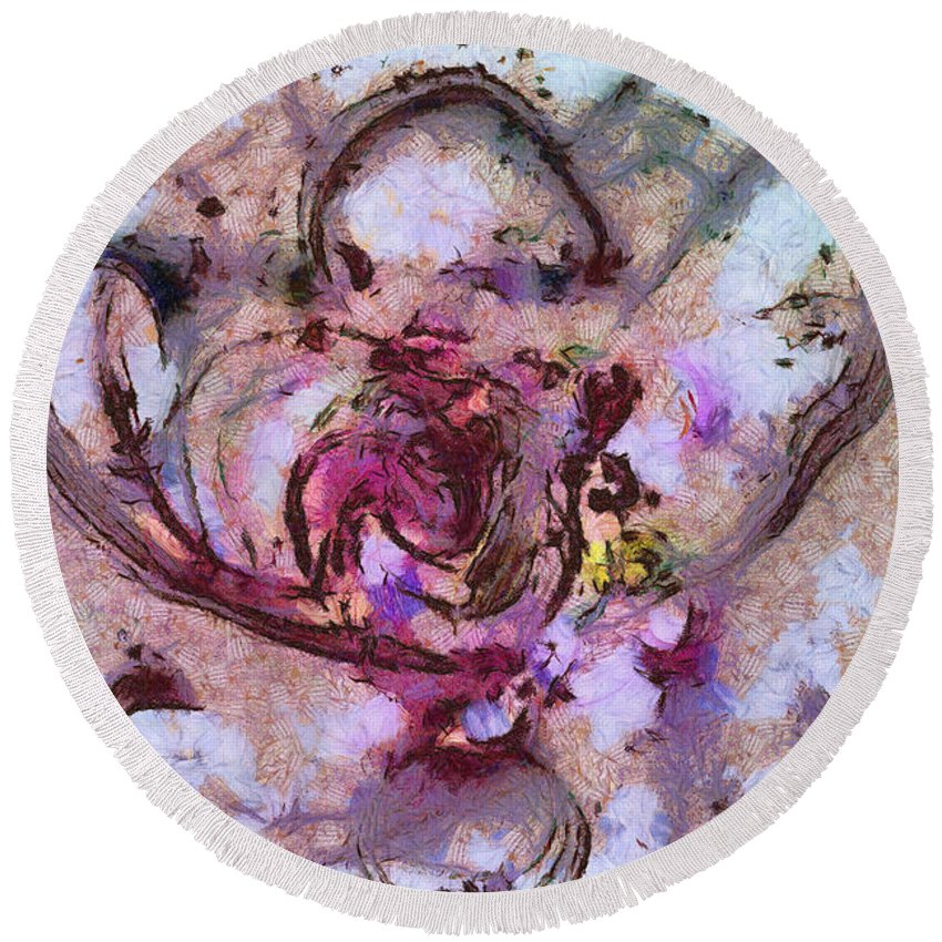 Ndr099 Round Beach Towel featuring the painting Tyranness Tissue Id 16097-233723-68930 by S Lurk