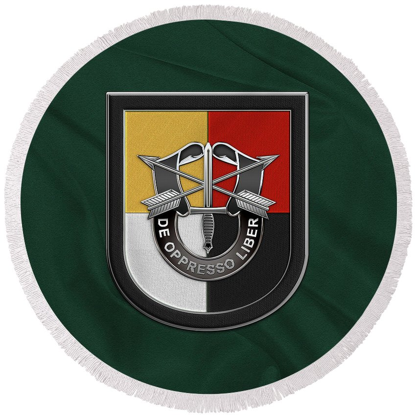 aa9c9b3308d5b  u.s. Army Special Forces  Collection By Serge Averbukh Round Beach Towel featuring  the digital