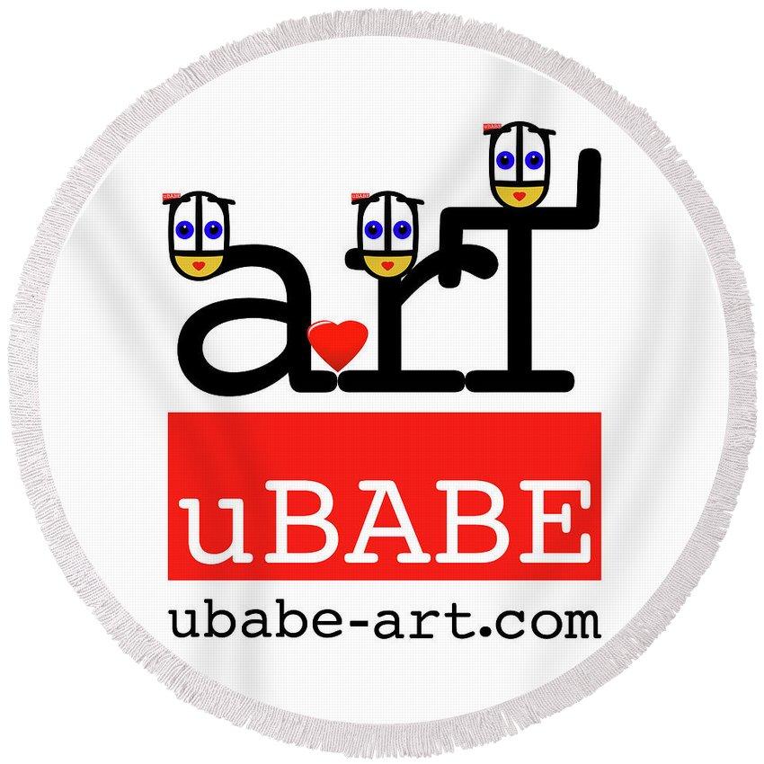 Ubabe Round Beach Towel featuring the digital art uBABE Art Wave by Charles Stuart