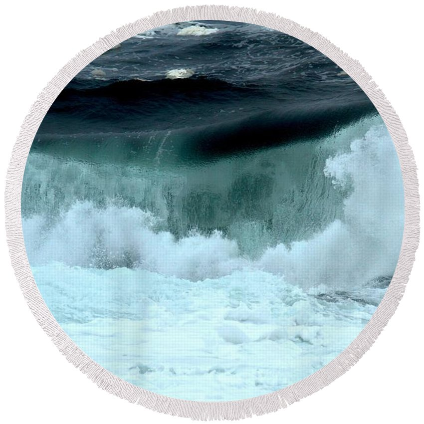 Crashing Waves Round Beach Towel featuring the photograph Ucluelet Breaking Waves by Adam Jewell