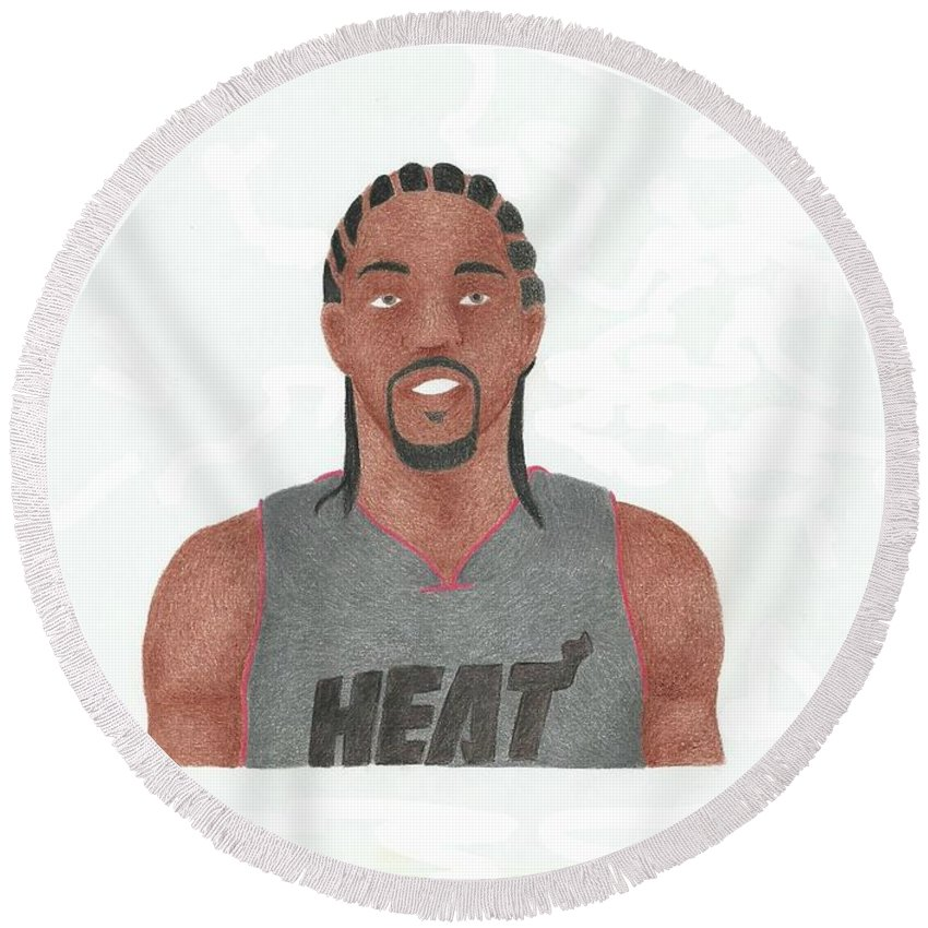 Basketball Round Beach Towel featuring the drawing Udonis Haslem by Toni Jaso