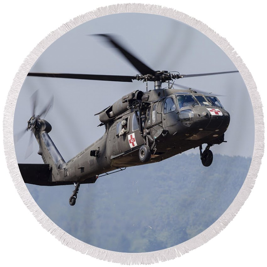 Horizontal Round Beach Towel featuring the photograph Uh-60a Black Hawk Medevac Helicopter by Timm Ziegenthaler