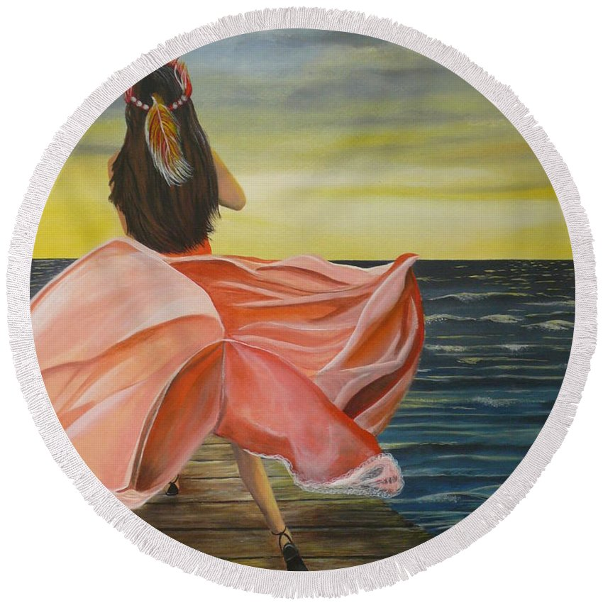 Sunset Round Beach Towel featuring the painting Uhane O Ka Welo by Kris Crollard