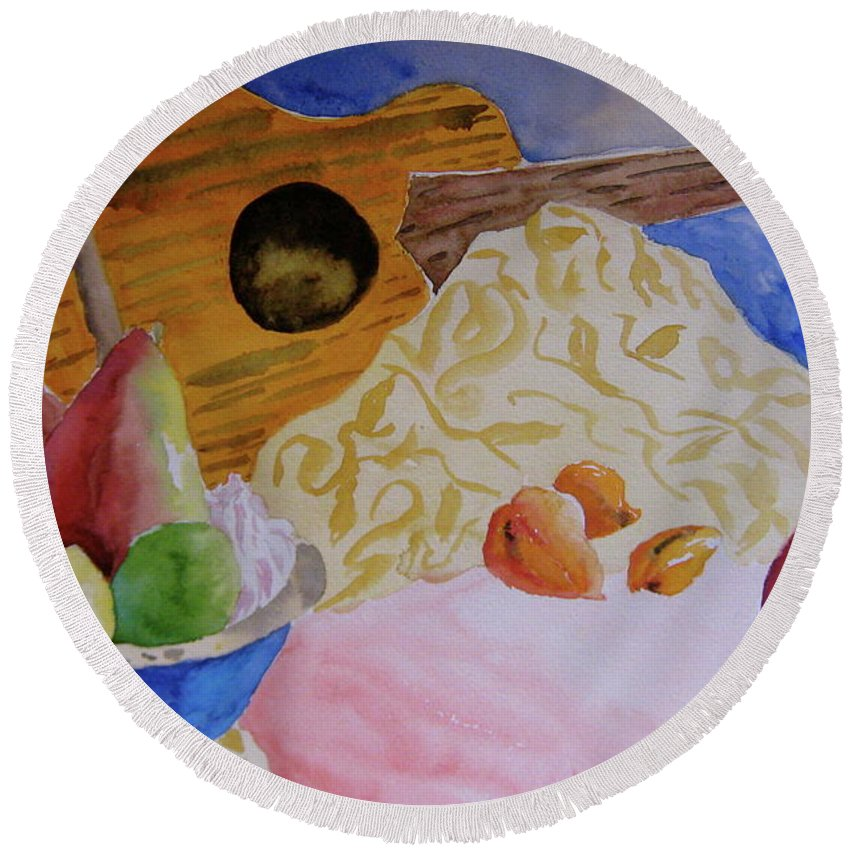 Ukelele Round Beach Towel featuring the painting Ukelele by Beverley Harper Tinsley