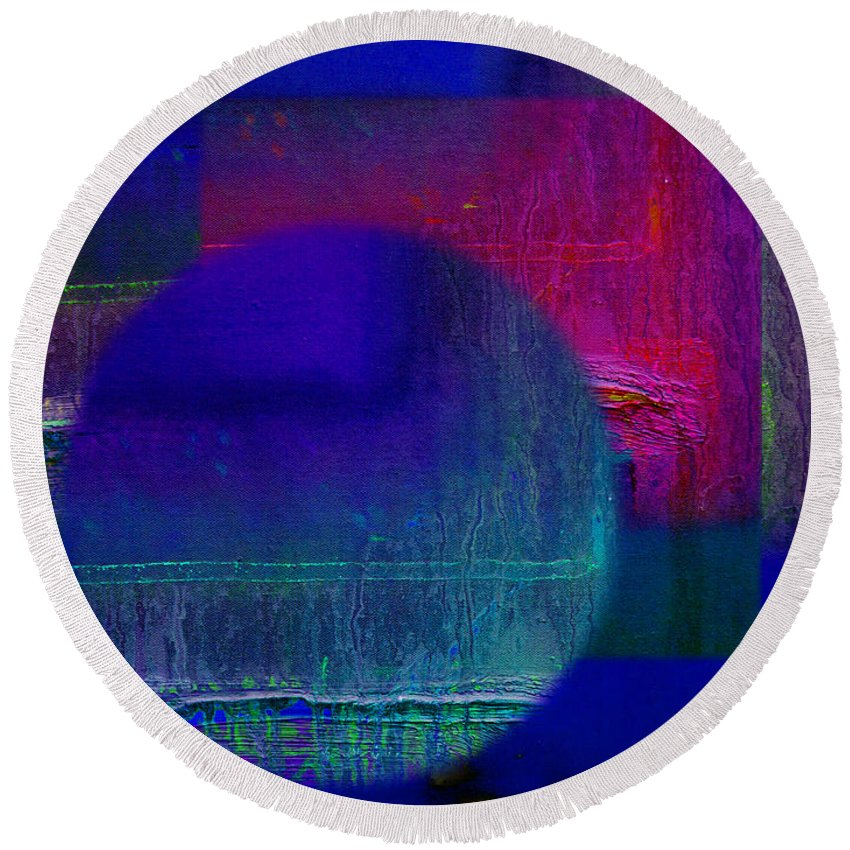Landscape Round Beach Towel featuring the painting Ultradeep Lavender by Charles Stuart