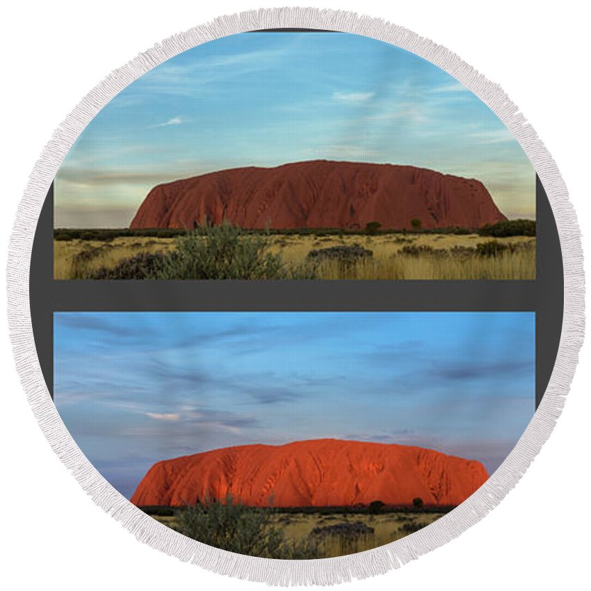 Mountain Round Beach Towel featuring the photograph Uluru Sunset by Werner Padarin