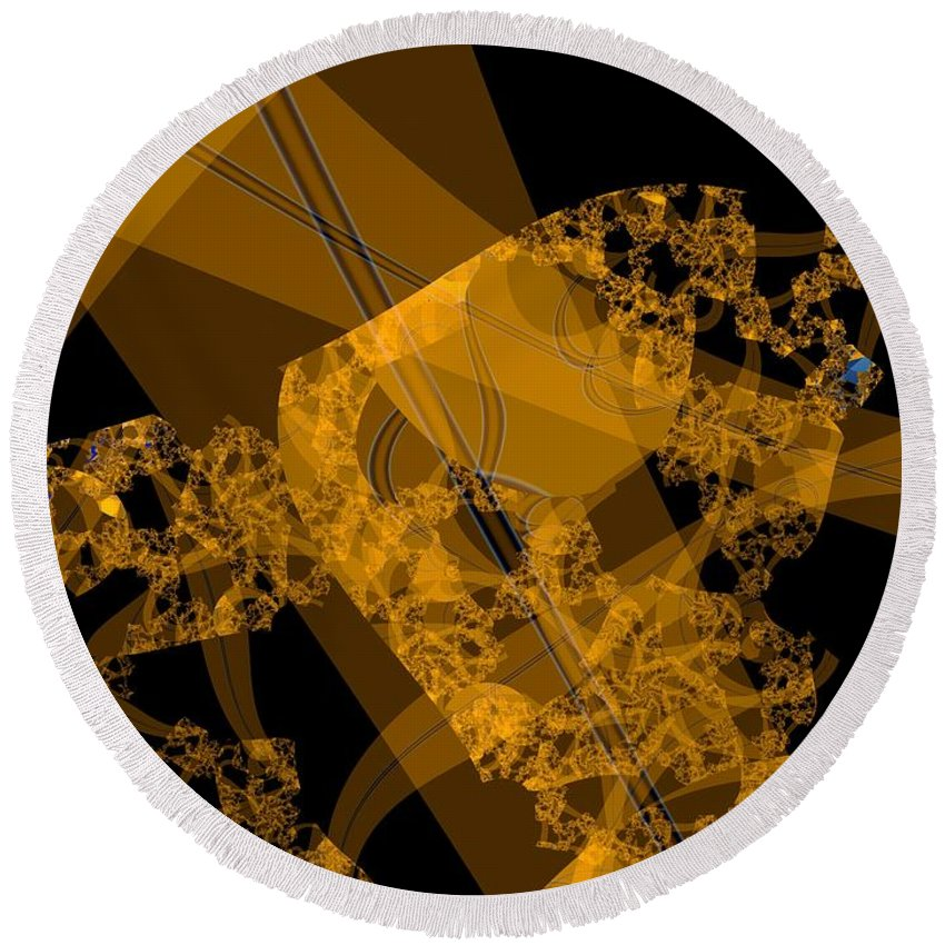 Fractal Image Round Beach Towel featuring the digital art Umber by Ron Bissett