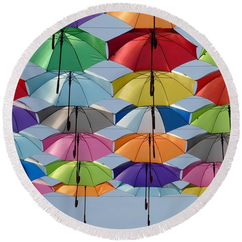 Umbrella Round Beach Towel featuring the photograph Umbrella Rainbow by Billy Soden