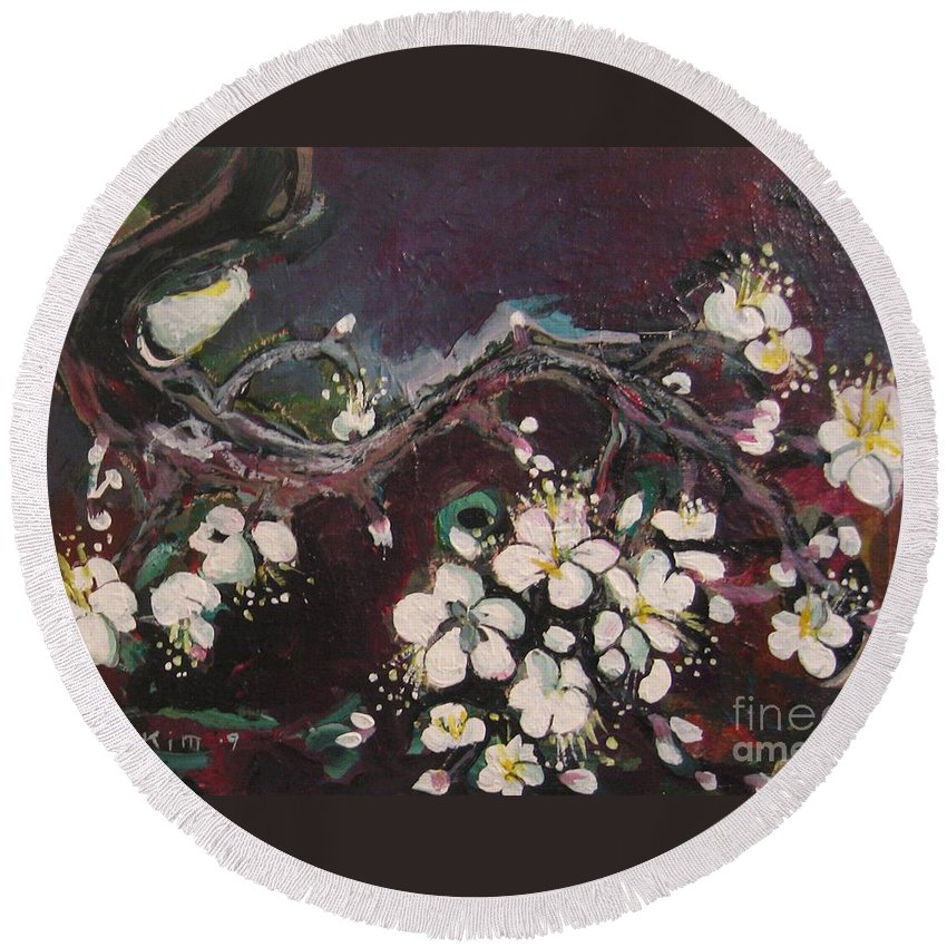 Ume Blossoms Paintings Round Beach Towel featuring the painting Ume Blossoms by Seon-Jeong Kim