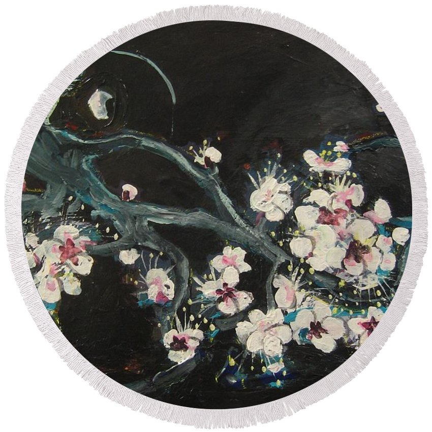 Ume Blossoms Paintings Round Beach Towel featuring the painting Ume Blossoms2 by Seon-Jeong Kim