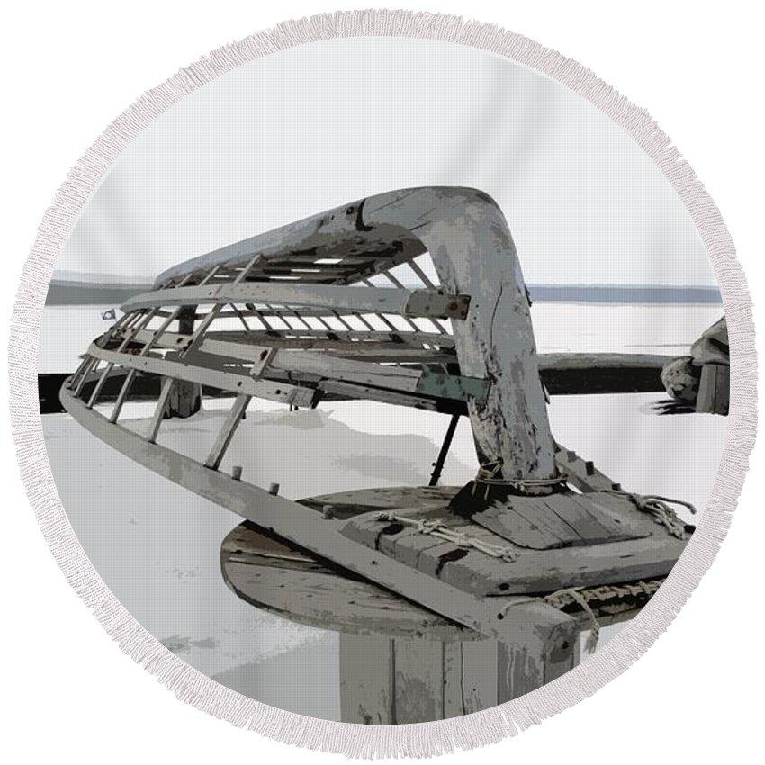 Barrow Round Beach Towel featuring the digital art Umiak Frame On Chukchi Sea by Ron Bissett