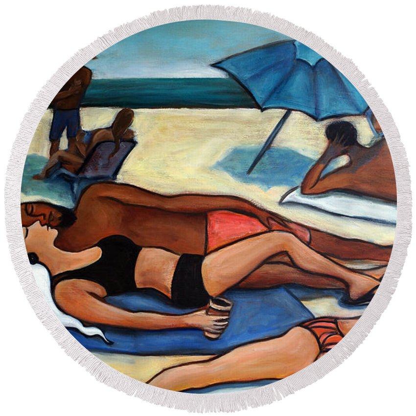 Beach Scene Round Beach Towel featuring the painting Un Journee A La Plage by Valerie Vescovi
