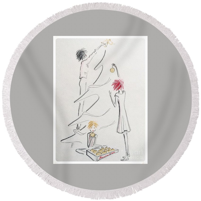Christmas Round Beach Towel featuring the drawing Un Peu De Noel by Barbara Chase
