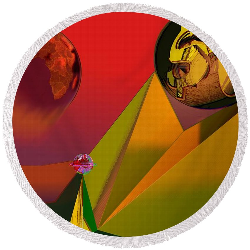 Earth Round Beach Towel featuring the digital art Unbalanced-the Source Of Violence by Helmut Rottler