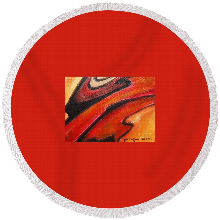 Abstract Round Beach Towel featuring the painting Uncertainity by Yael VanGruber