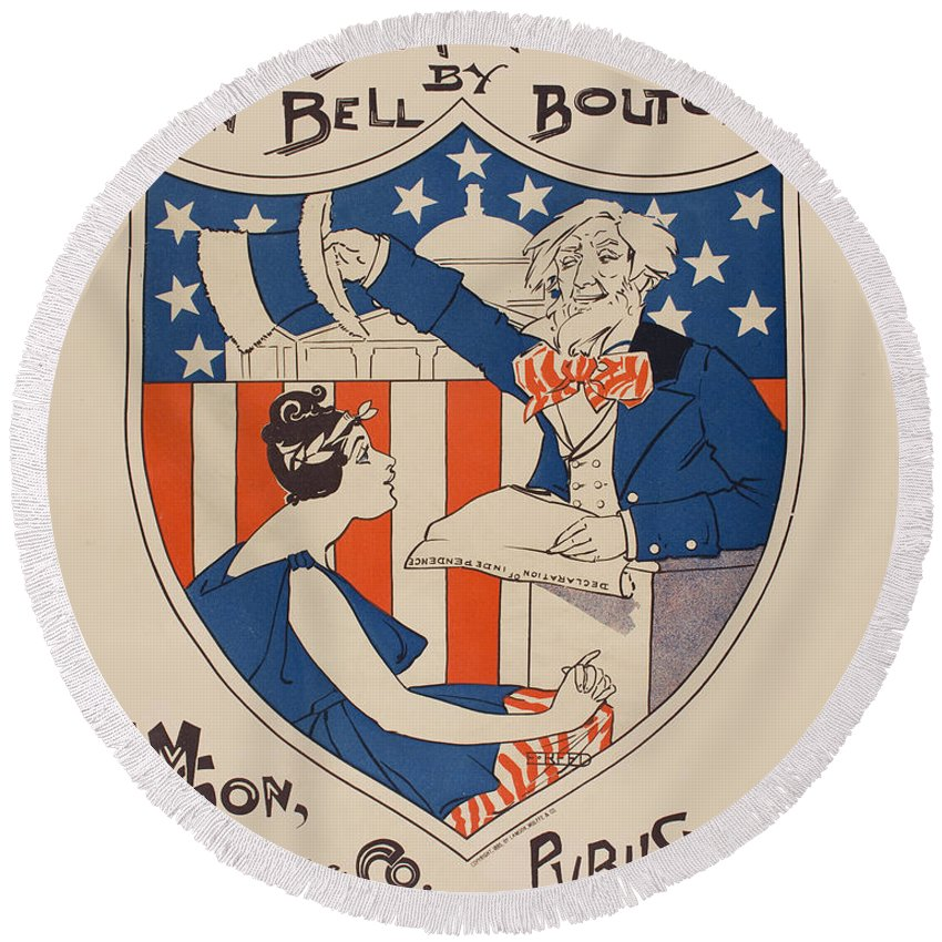 Ethel Reed Round Beach Towel featuring the drawing Uncle Sam's Church by Ethel Reed
