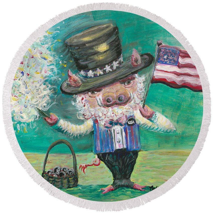 Fourth Of July Round Beach Towel featuring the painting Uncle Spam by Nadine Rippelmeyer