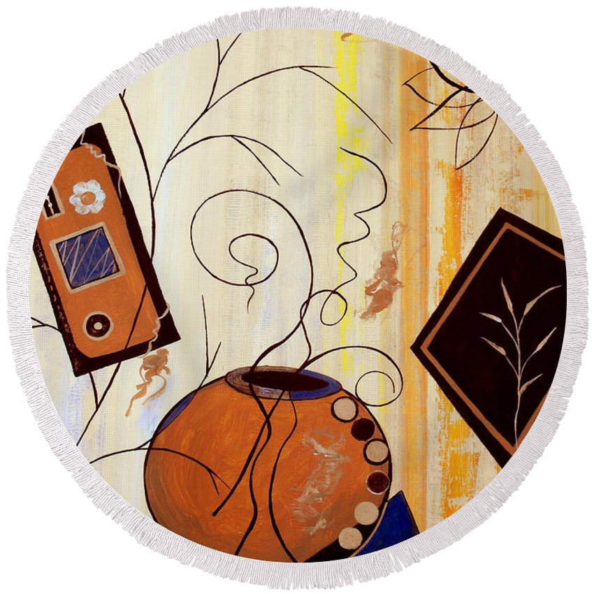 ruth Palmer Round Beach Towel featuring the painting Unconstrained by Ruth Palmer