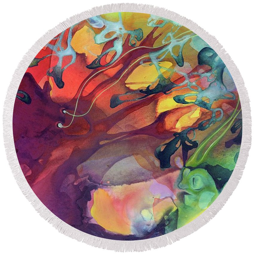 Abstract Round Beach Towel featuring the painting Uncontrolled by Darcy Lee Saxton