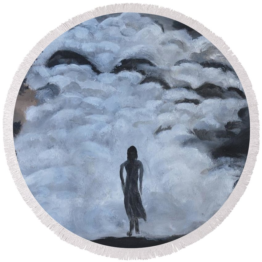 Woman Silhouette Round Beach Towel featuring the painting Undaunted by Sally Jones