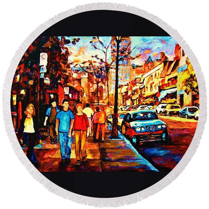 Montrealstreetscene Round Beach Towel featuring the painting Under A Crescent Moon by Carole Spandau