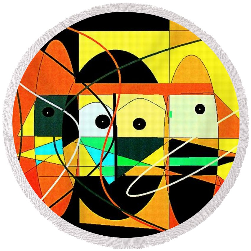 Abstract Round Beach Towel featuring the digital art Under A Mid Day Sun by Ian MacDonald