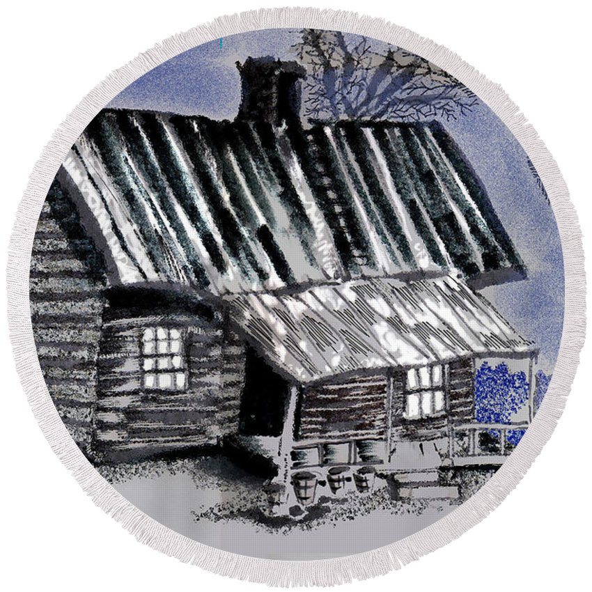 Cabin Round Beach Towel featuring the drawing Under A Tin Roof by Seth Weaver