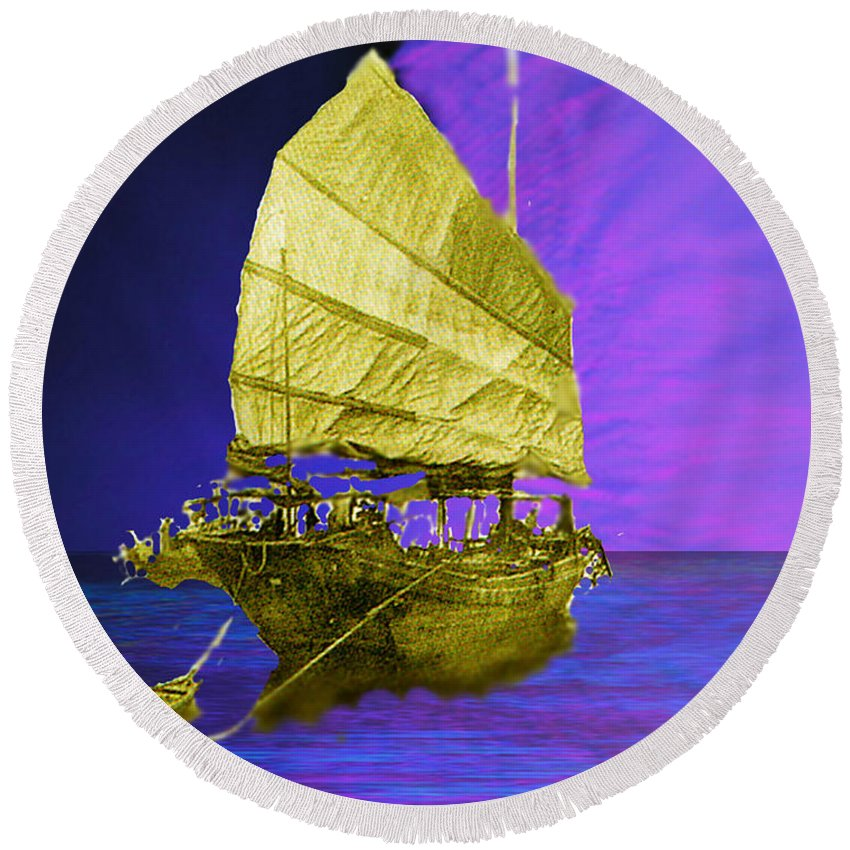 Nautical Round Beach Towel featuring the digital art Under Golden Sails by Seth Weaver