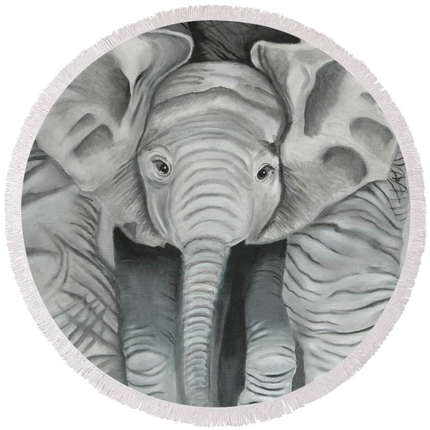 Elephant Round Beach Towel featuring the painting Under Mom by Terry Lewey