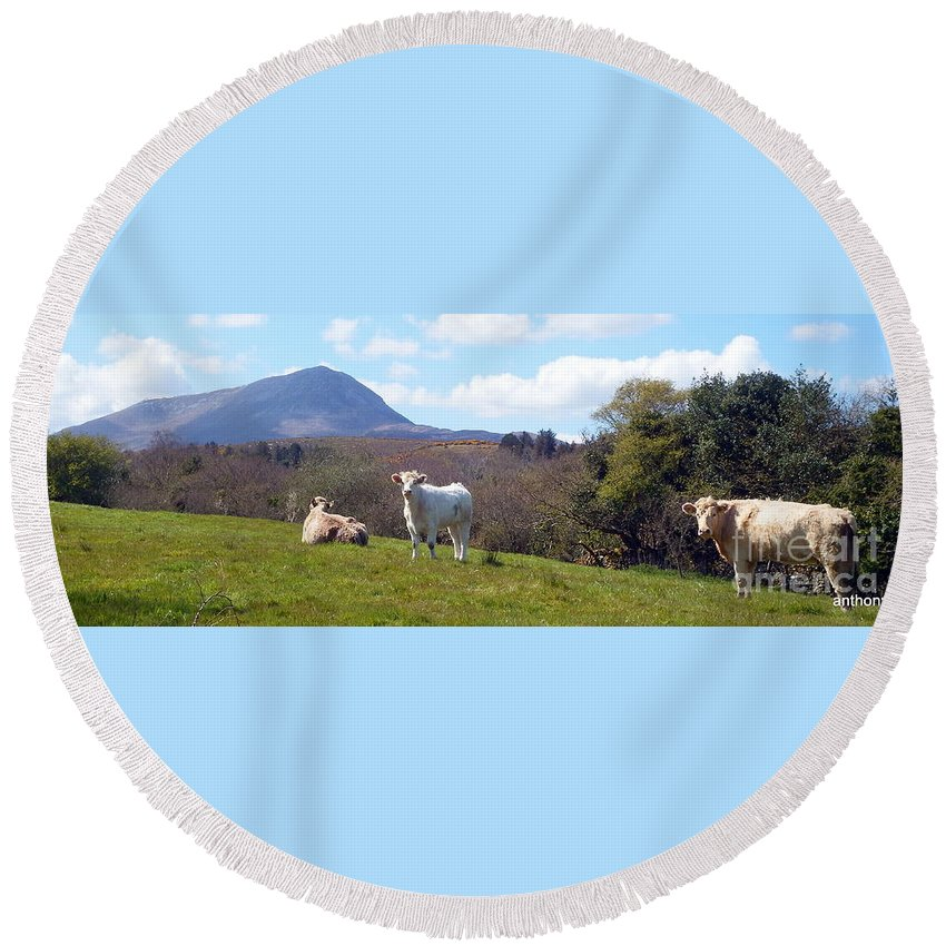 Landscape Round Beach Towel featuring the photograph Under Muckish ,donegal by Anthony Gallagher