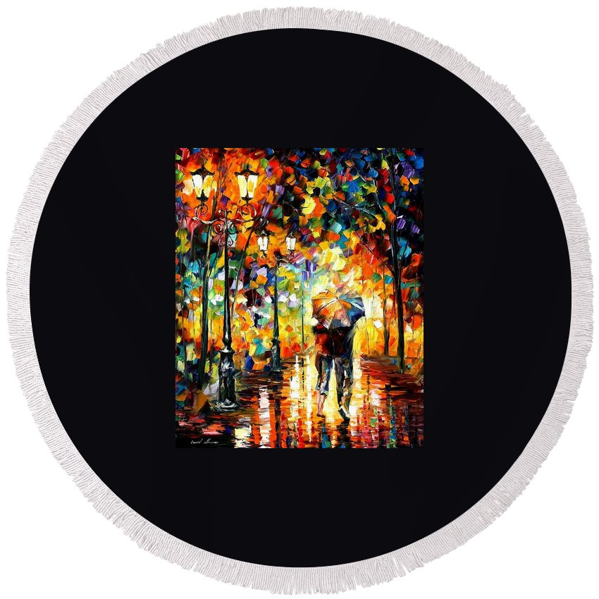 Afremov Round Beach Towel featuring the painting Under One Umbrella by Leonid Afremov