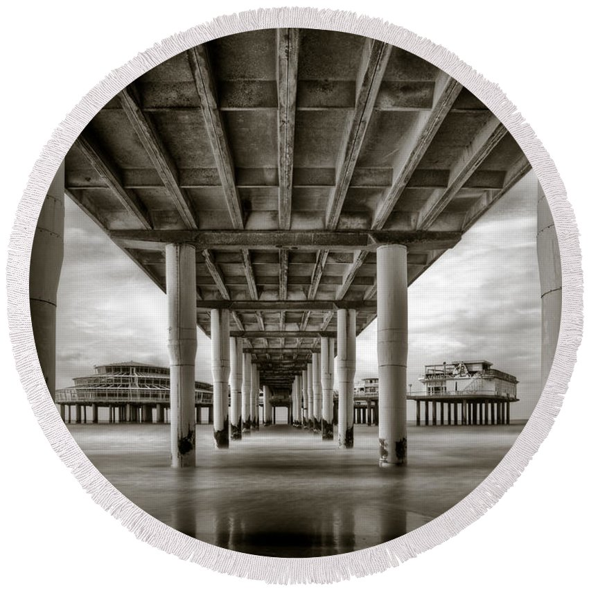 Pier Round Beach Towel featuring the photograph Under The Boardwalk by Dave Bowman