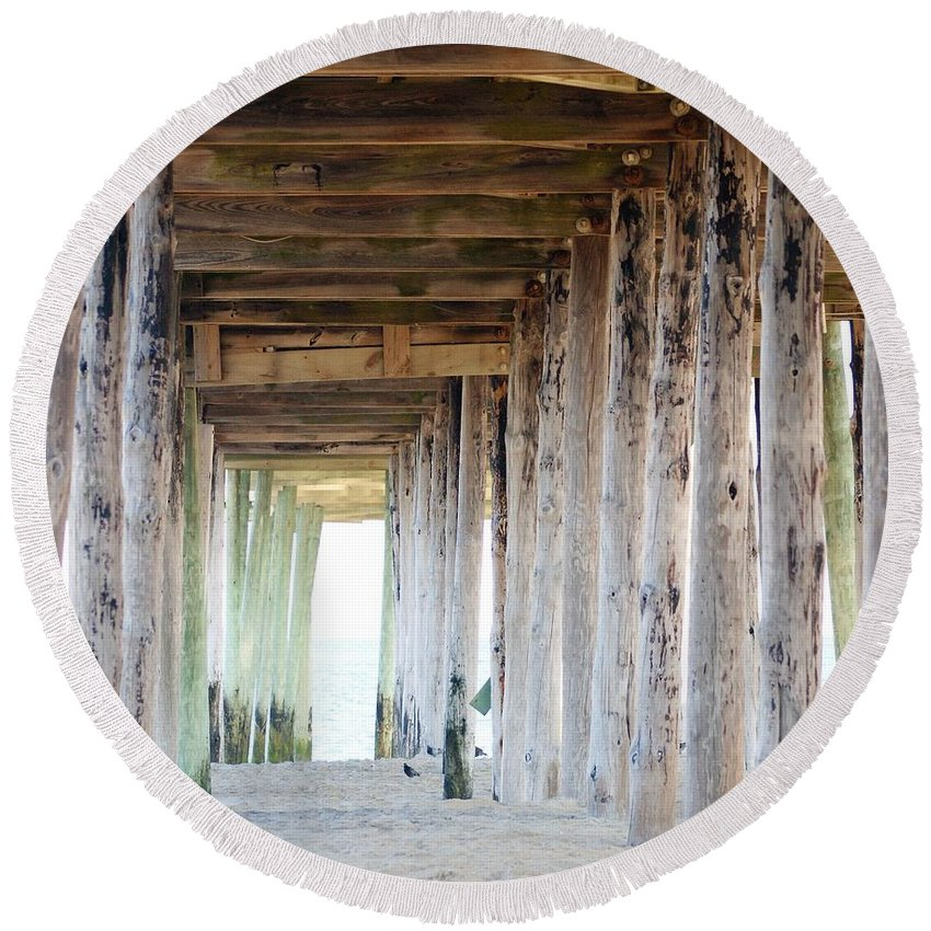 Landscape Round Beach Towel featuring the photograph Under The Boardwalk Except It's The Pier by Judy Carr